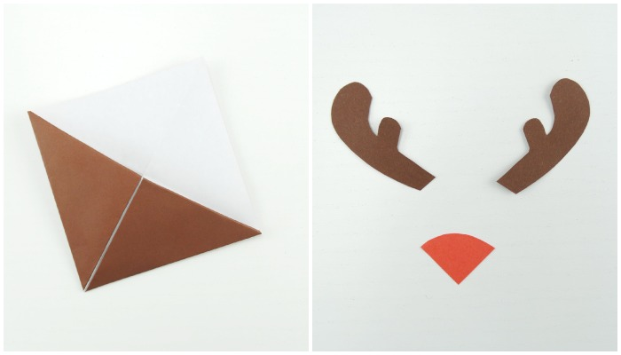 Закладка-оригами для книги: северный олень Рудольф