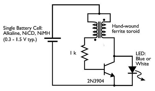 Повышающий преобразователь напряжения для питания светодиода от одной батарейки 1,5 В