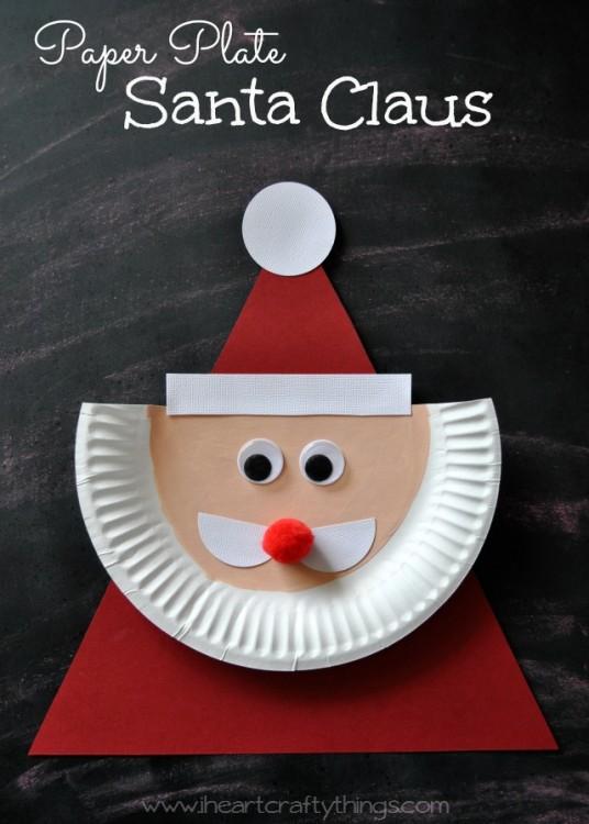 Дед Мороз из картонной тарелки своими руками
