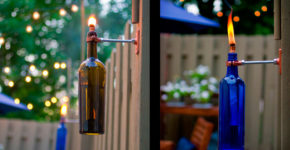 Керосиновая лампа-факел из винной бутылки