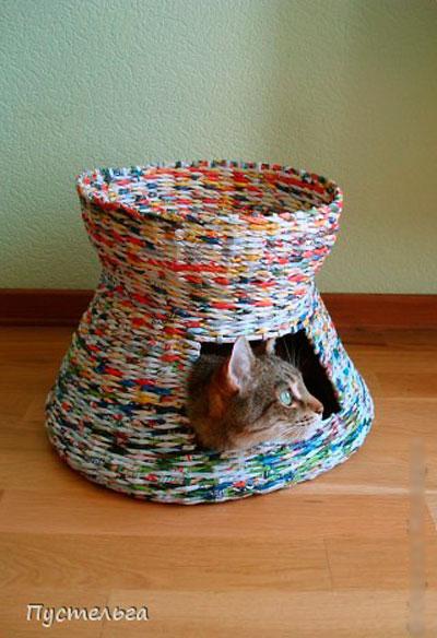 Дом для кота из бумажных трубочек своими руками