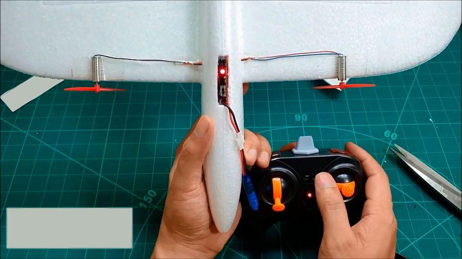 Самолёт на радиоуправлении из детского ручного метательного планера
