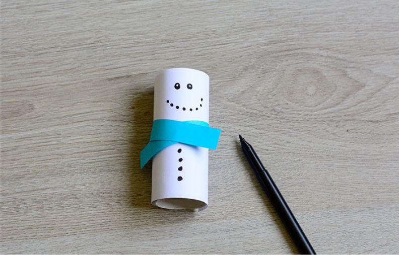 Снеговик из втулки от туалетной бумаги
