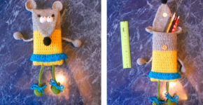 Вязаный пенал – мышь своими руками