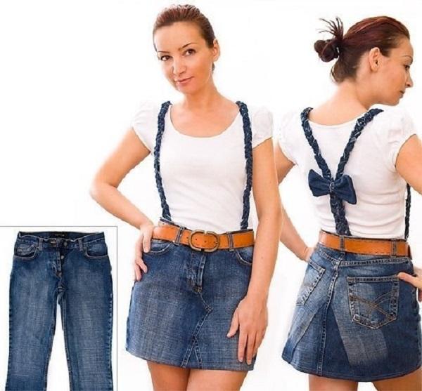 Как превратить джинсы в юбку