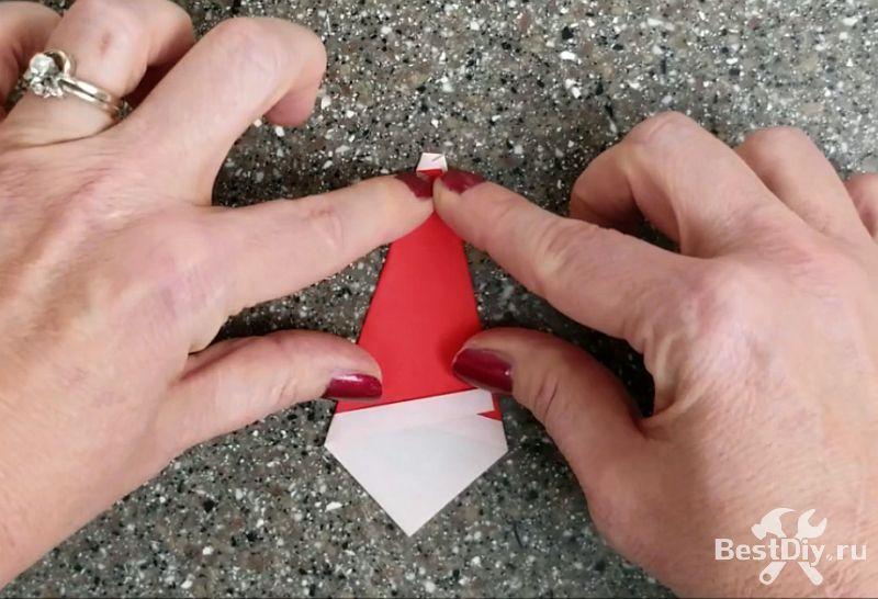 Оригами: Санта Клаус из бумаги