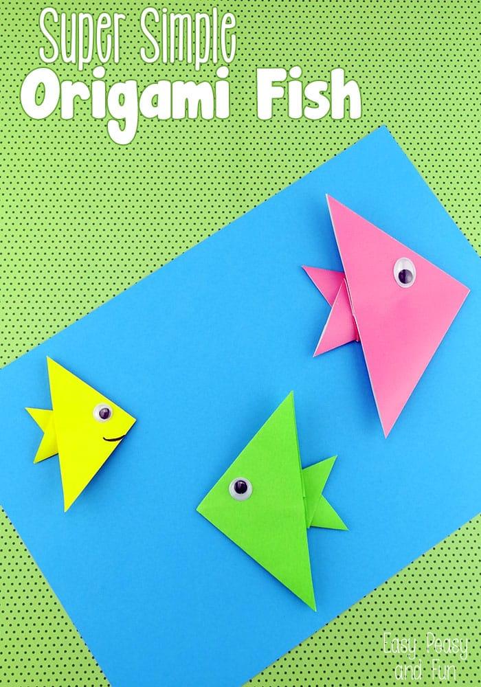 Простые рыбки из бумаги в технике оригами для детей