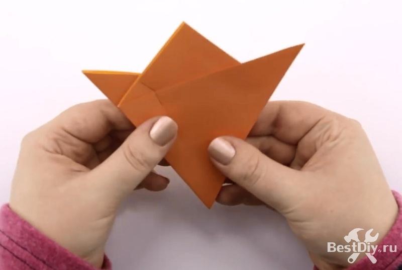 Оригами: объёмная шестигранная звезда-цветок из бумаги