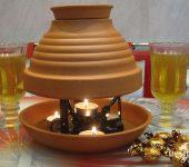 Обогреватель из глиняных цветочных горшков и свечи
