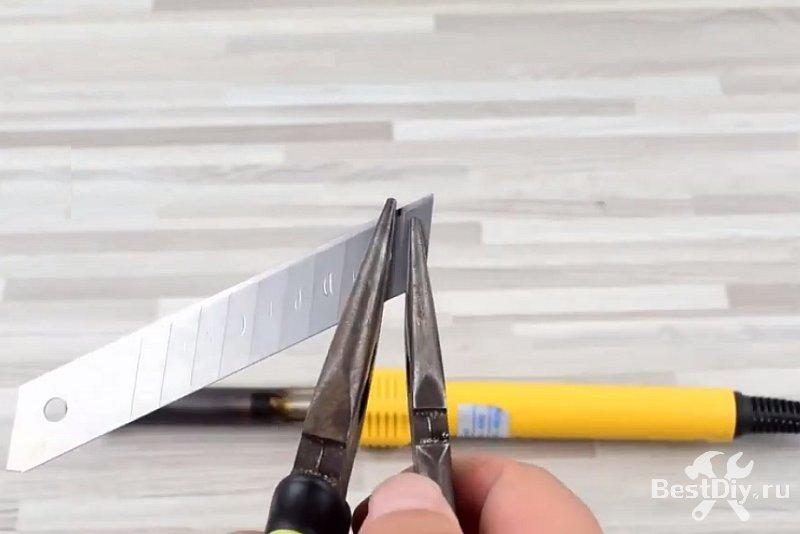 Горячий нож для резки пластиков из паяльника