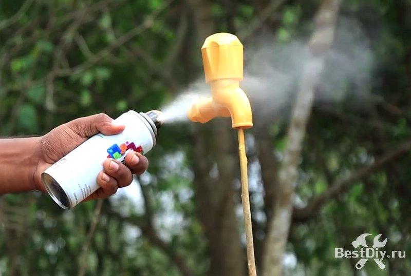 Фонтан «кран, висящий в воздухе» или «магический кран» своими руками
