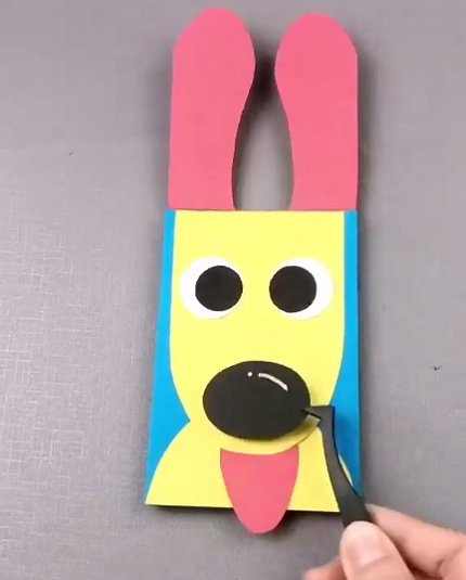 Делаем забавную открытку с собачкой для детей