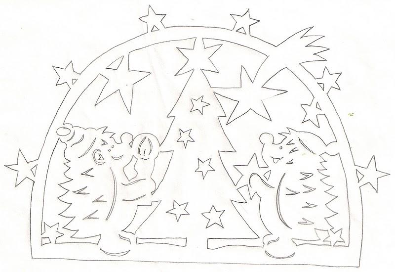 Новогодние вытынанки, ёжики и ёлка, шаблон