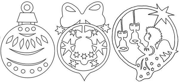 Новогодние вытынанки, ёлочные шары, шаблон