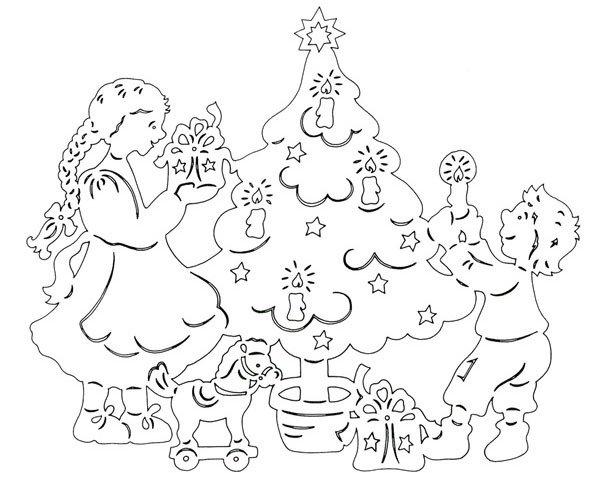 Новогодние вытынанки, дети и ёлка, шаблон