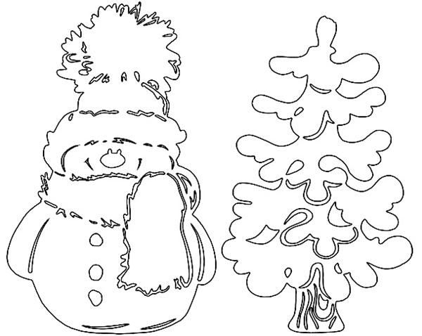 Новогодние вытынанки, снеговик и ёлка, шаблон
