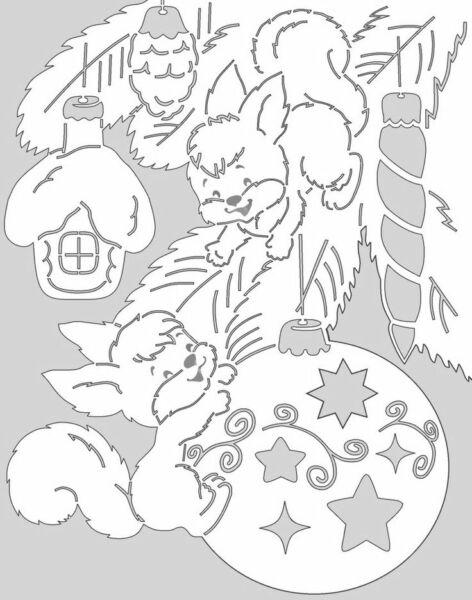Новогодние вытынанки, белки и ёлочный шар, шаблон