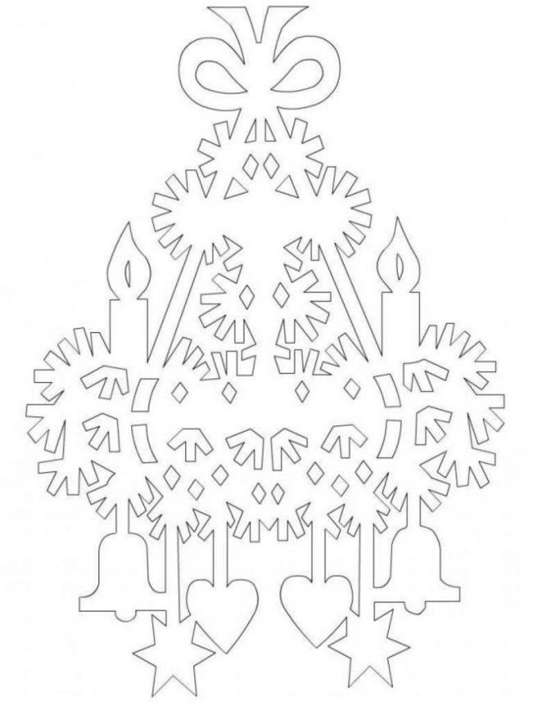 Новогодние вытынанки, ёлка, шаблон
