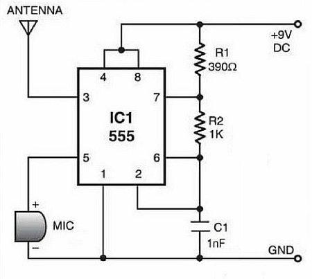 Схема АМ передатчика на таймере NE555
