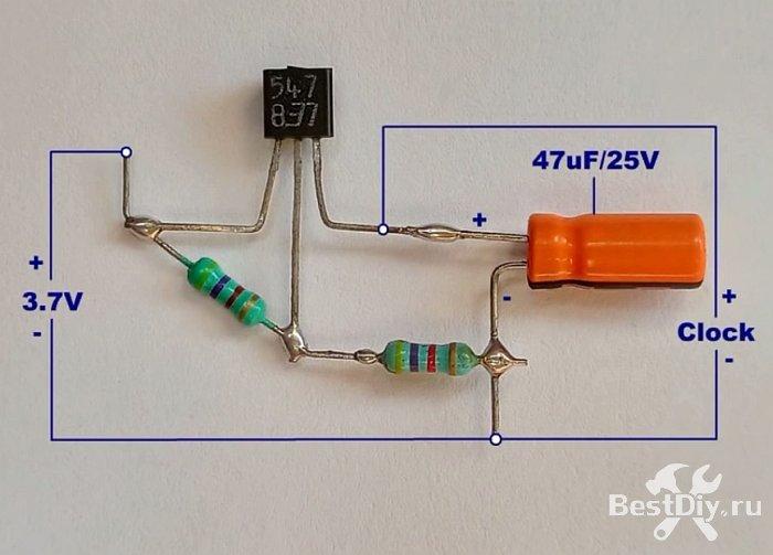 Переводим настенные часы на питание от Li-ion аккумулятора на 3,7В