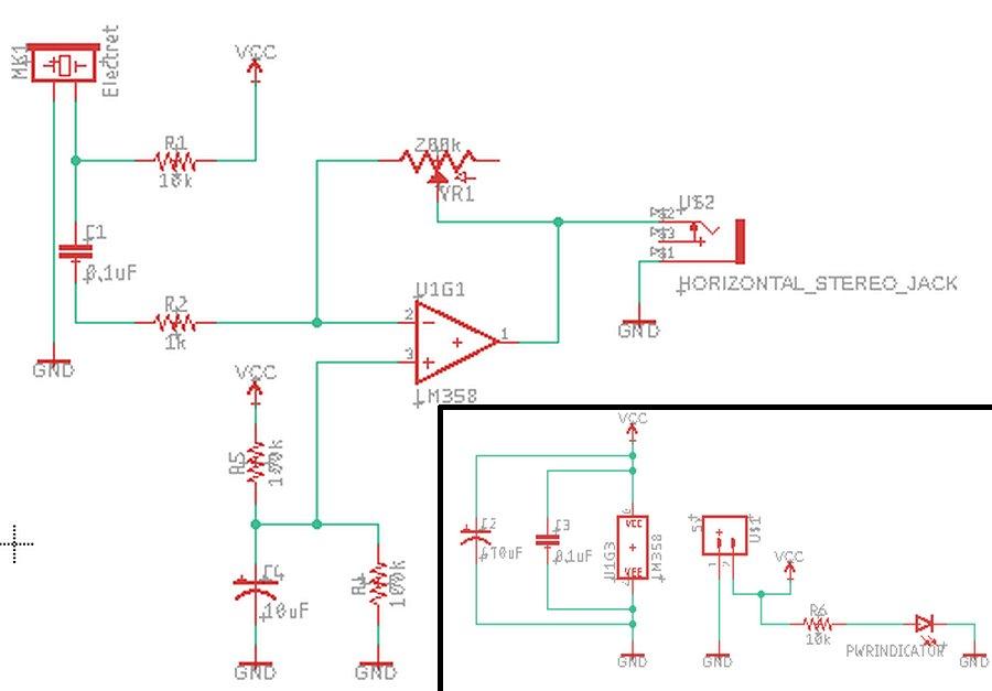Предусилитель для электретного микрофона на LM358