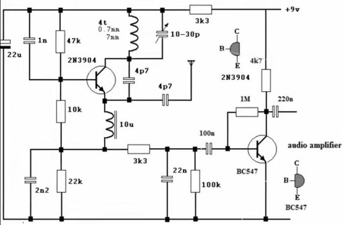 Схема простого транзисторного FM радиоприёмника