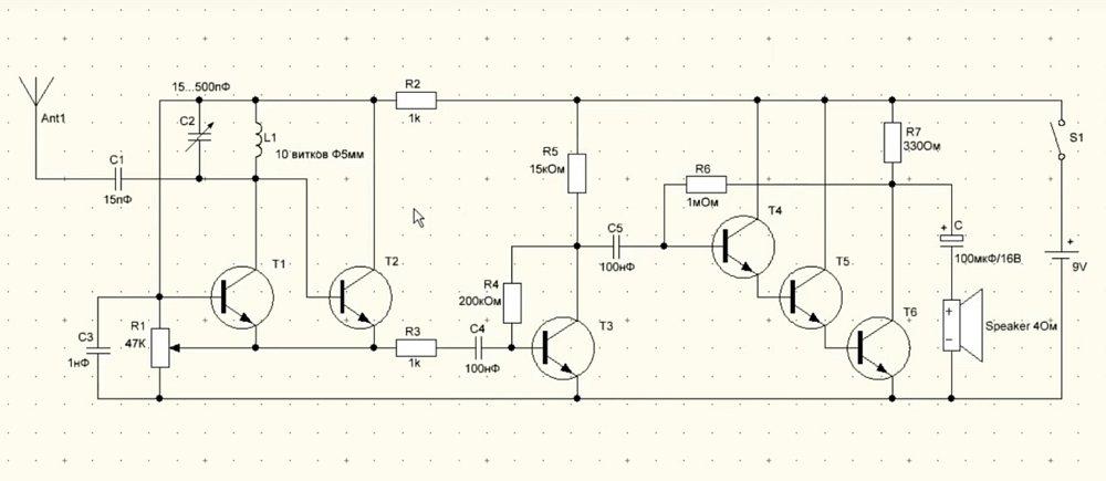 Схема регенеративного радиоприёмника